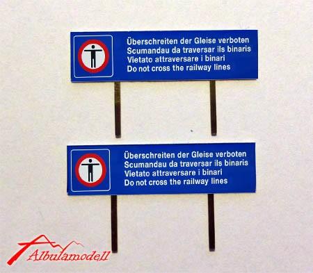 Überschreiten der Geleise verboten (2 Stück, H0)