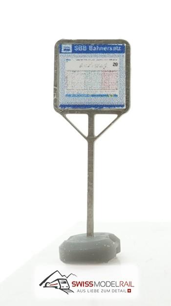 Tafel mit Betonständer Ersatzhaltestelle H0 - Neuheit 2021