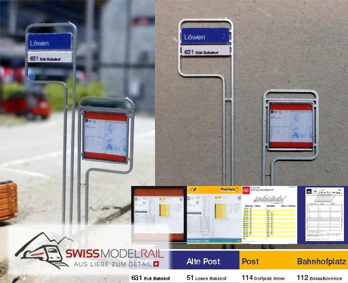 Bus Postauto Haltestelle Variante 1 H0