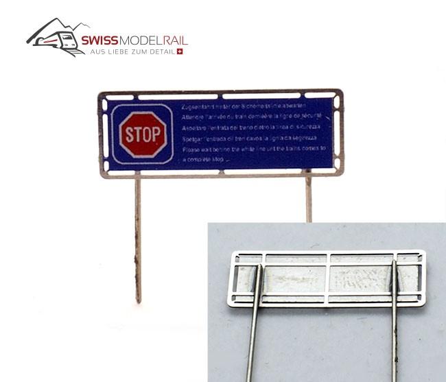 Zugeinfahrt abwarten Schild (H0)