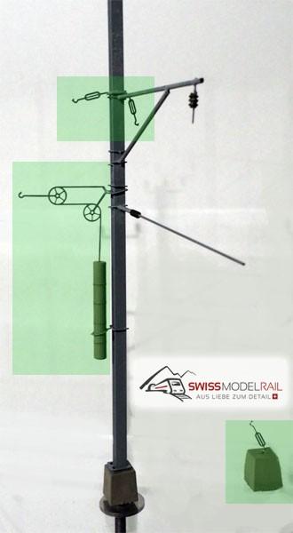 Fahrleitungsmast Abspannung Set mit Gegenzug