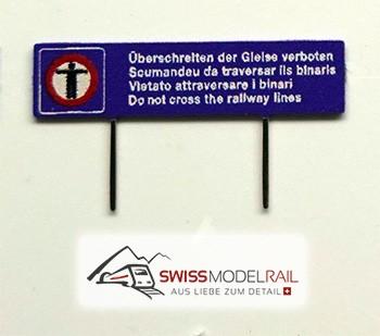 Überschreiten der Gleise verboten (2 Stück, Spur N)