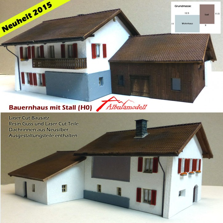 Bauernhaus mit Stall Fertigmodell (H0)