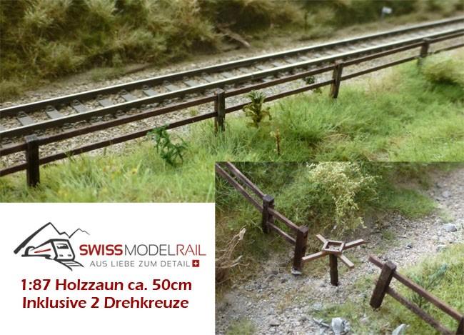 Holzzaun / Viehzaun mit Drehkreuzen H0 (ca. 60 cm)