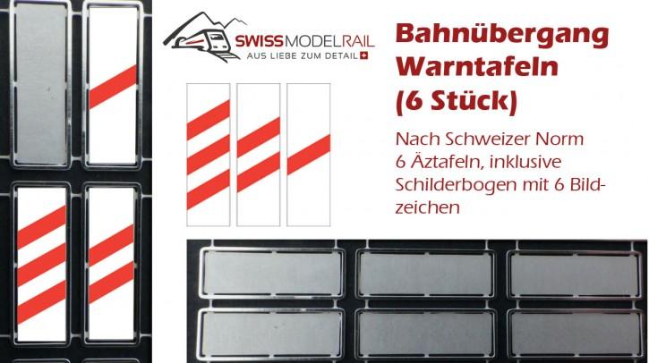 Strassen Bahnübergang Warntafeln 1:87 (6 Stück)