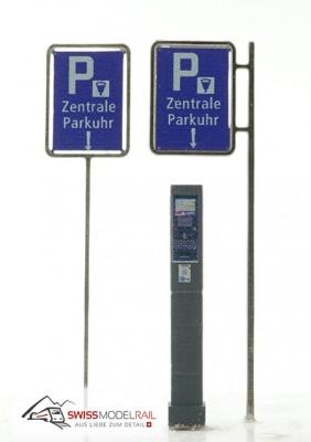 Schild Zentrale Parkuhr bedruckt (1 Stück) Neuheit 2021
