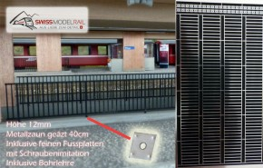 Gitterzaun / Bahnhofgeländer Metall H0 (40 cm)